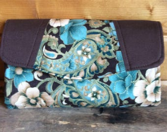Necessary clutch wallet/Ncw/accordion wallet/ womans wallet/ floral/ handmade/ gift/brown/blue