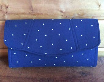 Necessary clutch wallet/Ncw/accordion wallet/ womans wallet/ craft/ handmade/ gift/navy/dots
