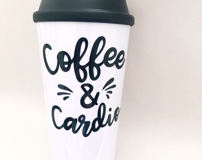 Coffee and cardio, coffee tumbler, fitness tumbler, gift for her, best friend gift, sister birthday gift, unique tumblers, coffee gift