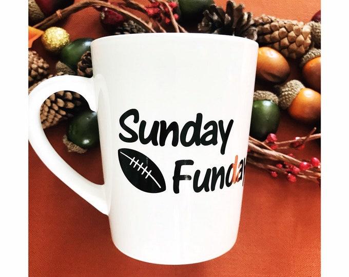 sunday funday football mug, Christmas gifts for Dad, football mom gift, football coffee mug, fantasy football gift, coffee gifts for her