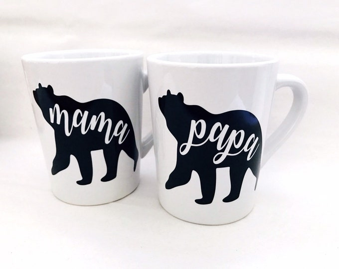 mama and papa bear mug set, mama bear, papa bear, ceramic coffee cup, mama and papa mugs, gift for parents, grandparent gifts, best