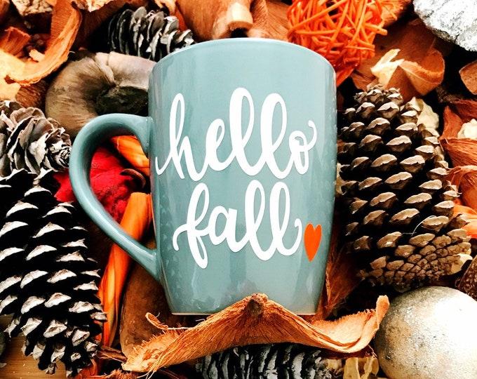 hello fall, fall coffee mug, autumn mug, unique coffee mug, seasonal mug, gift for sister, gift for her, hello fall mug, best
