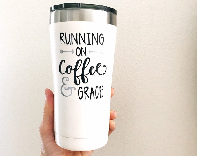 running on coffee and grace mug, travel coffee mug, college student gift, inspirational mug, Christian gifts for women, spiritual gift women