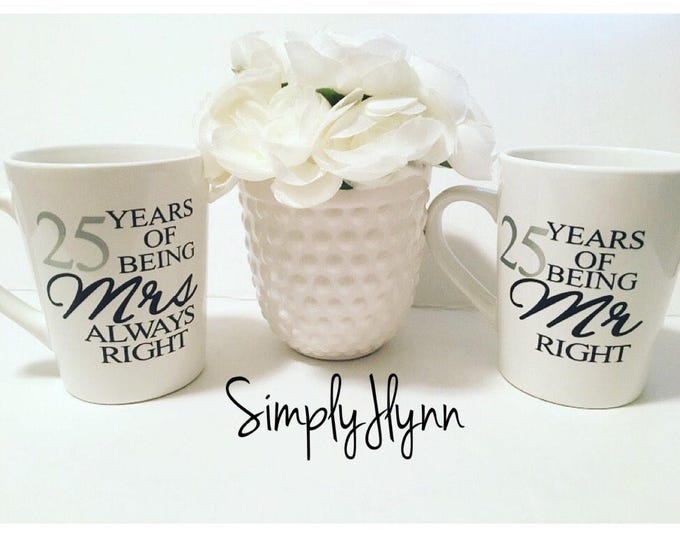 personalized mr right and mrs always right mugs, funny coffee mug set, custom anniversary gifts for couples, mr and mrs mugs, his and hers