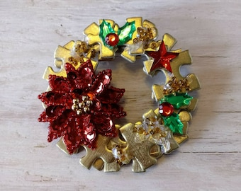 Gold puzzle piece Christmas wreath pin / Christmas pin / poinsettia Christmas pin / wreath pin