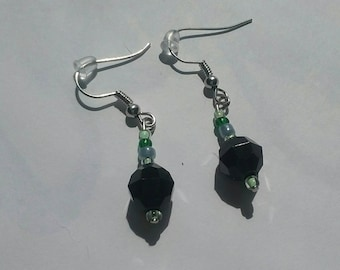 Green Blue with black beaded dangle drop earrings / beaded dangle earrings