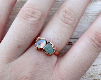 Mermaid ring electroformed copper jewelry, beach boho statement ring gift for daughter bestfriend wife girlfriend, raw crystal moonstone