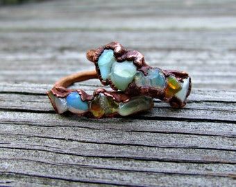 Opal welo Australian electroformed ring, copper stacking opal ring, October birthstone, boho crystal ring, rough gemstone ring, opal healing