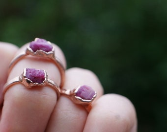 Ruby ring raw stone jewelry, electroformed rose gold ruby stacking ring, alternative engagement, ruby wedding band, one of a kind gift