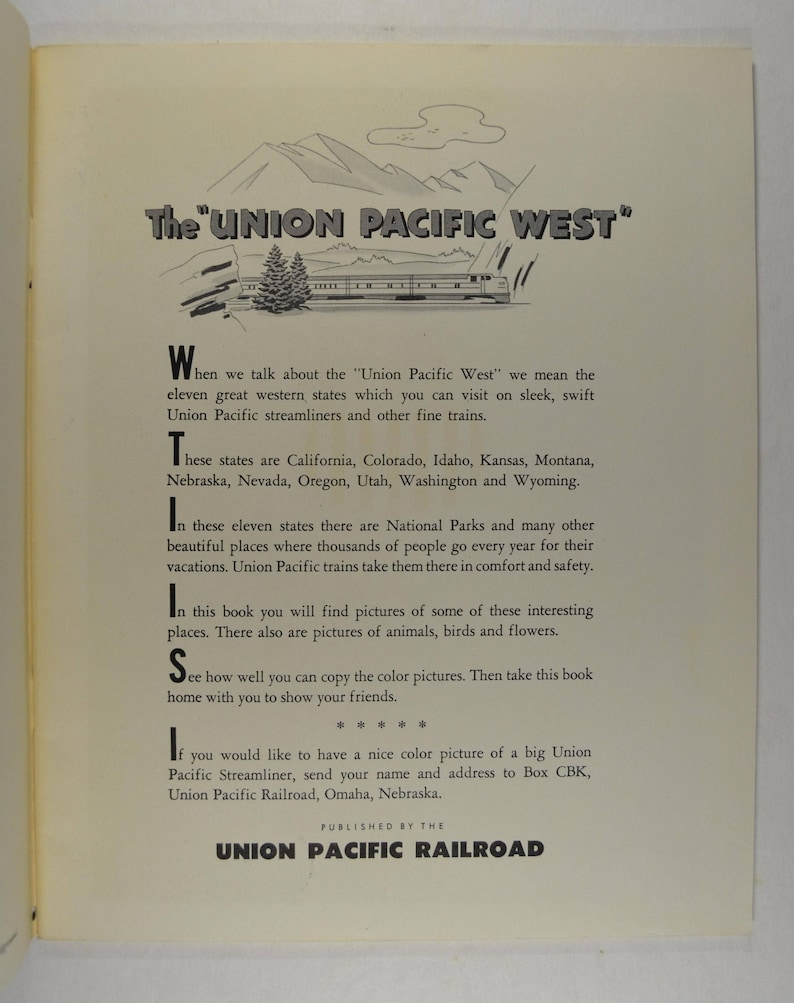 Coloring Book from the Union Pacific Railroad 1950