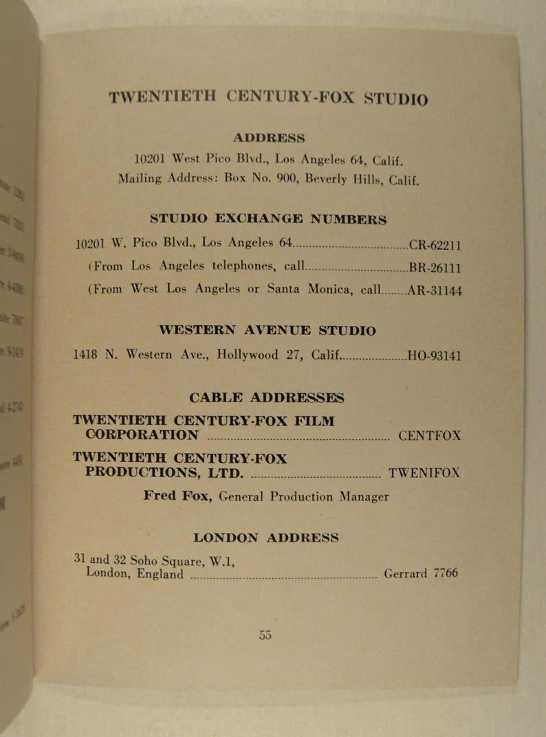 Movie Memorabillia Official Directory of 20th Century Fox Corporation  January 1, 1953