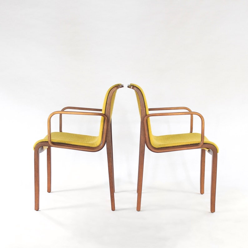 Knoll Bentwood Armchairs Pair Mid Century Modern 1970 Stamped Etsy