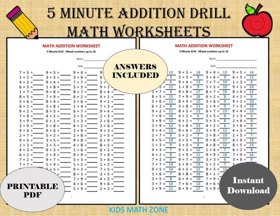 Addition 5 Minute Drill H 10 Math Worksheets With Etsy