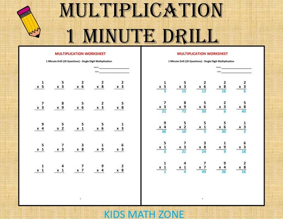 Multiplication 1 minute drill V (10 Math Worksheets with answers)/ pdf/  Year 2,3,4/ Grade 2,3,4/Printable worksheets/ Multiplication test