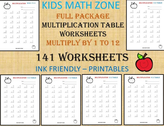 141 Multiplication Printable Worksheets For 2nd Grade To 4th Etsy