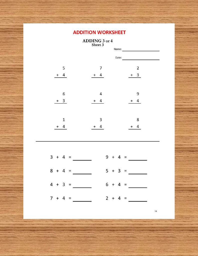 Addition Math Workbook (56 Worksheets with answers) /pdf/ Grade 1,2/ Year  1,2/Kindergarten/ Numeracy Games Kids/ Printable addition