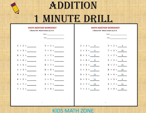 Addition 1 Minute Drill H 10 Math Worksheets With Answers Etsy