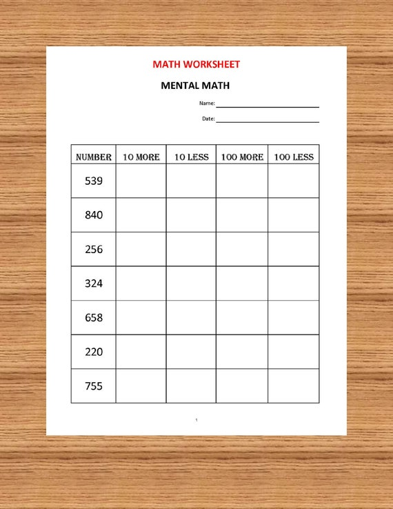 mental math  math worksheets pdf kindergarten year   etsy image