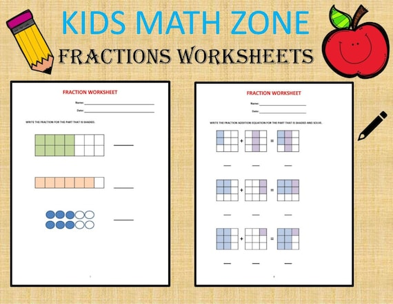 Fractions 36 Worksheets / Equivalent Fractions Mixed Etsy