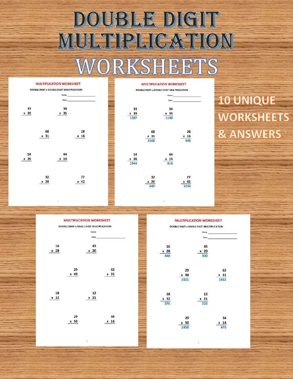 Multiplication Double Digit 10 Math Worksheets With Etsy