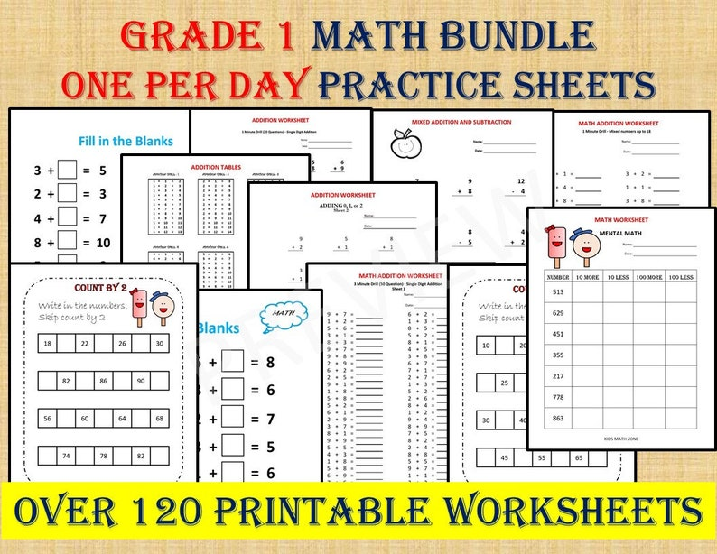 GRADE 1 MATH Workbook one per day 120 math Worksheets image 0