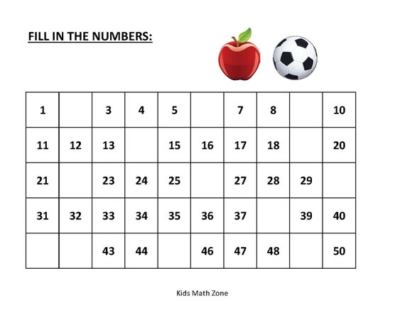 Fill In Missing Numbers 1 To 50 10 Printable Worksheets Etsy