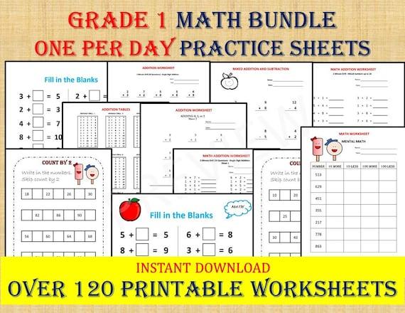 GRADE 1 MATH Workbook One Per Day 120 Math Worksheets Etsy