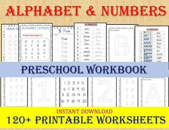 ALPHABET & NUMBERS 120 Worksheets / Preschool Worksheets Etsy