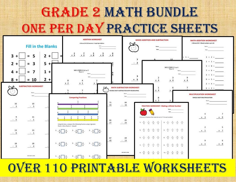 GRADE 2 MATH WORKBOOK one per day 110 math Worksheets / image 0