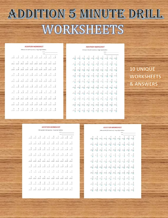 Addition 5 Minute Drill V 10 Math Worksheets With Etsy