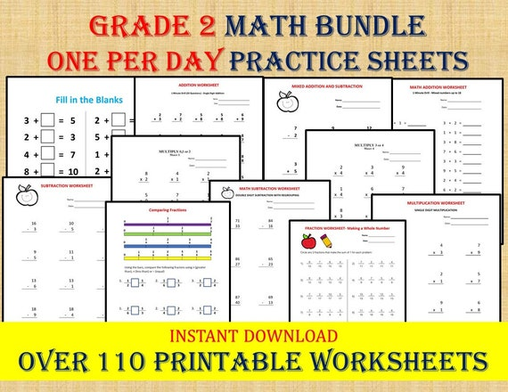 GRADE 2 MATH WORKBOOK One Per Day 110 Math Worksheets / Etsy
