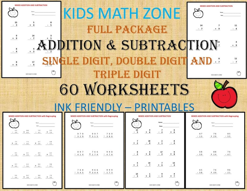 ADDITION & SUBTRACTION 60 printable worksheets with single image 0