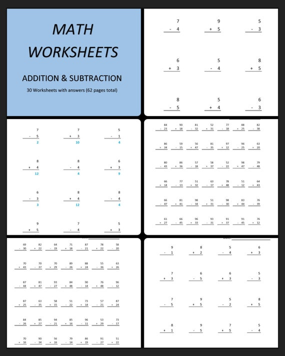 addition  subtraction worksheets  printable math  etsy image
