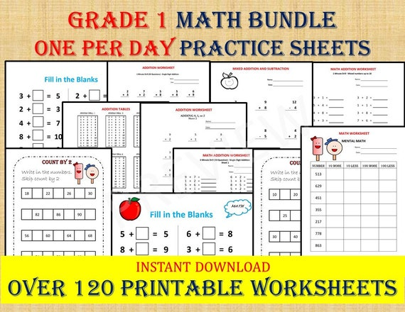 GRADE 1 MATH Workbook One Per Day 120 Math Worksheets 1st Etsy