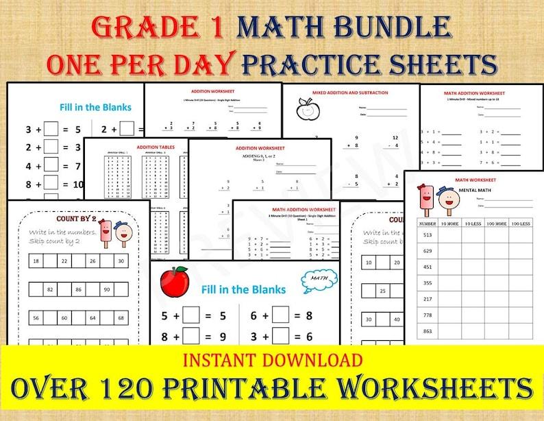 GRADE 1 MATH Workbook one per day 120 math Worksheets 1st image 0