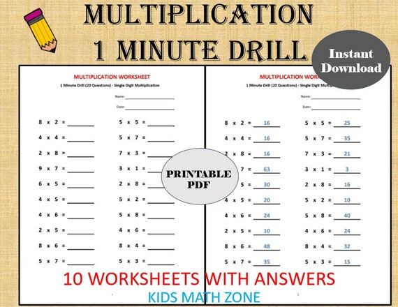Multiplication 1 Minute Drill H 10 Math Worksheets With Etsy