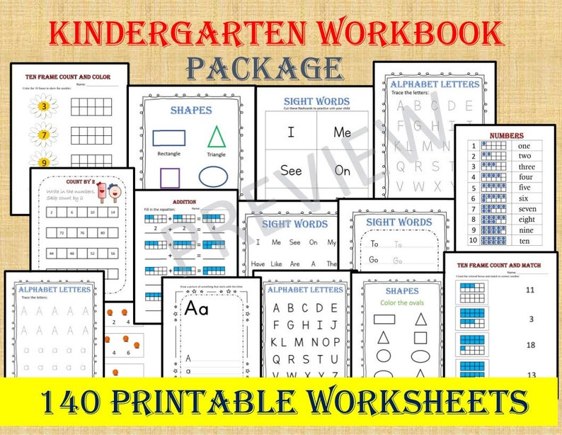 KINDERGARTEN WORKBOOK 140 Worksheets / Instant Download/ image 0