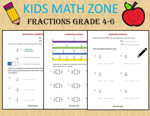 Fractions GRADE 4-6 Worksheets Compare Add Subtract Etsy