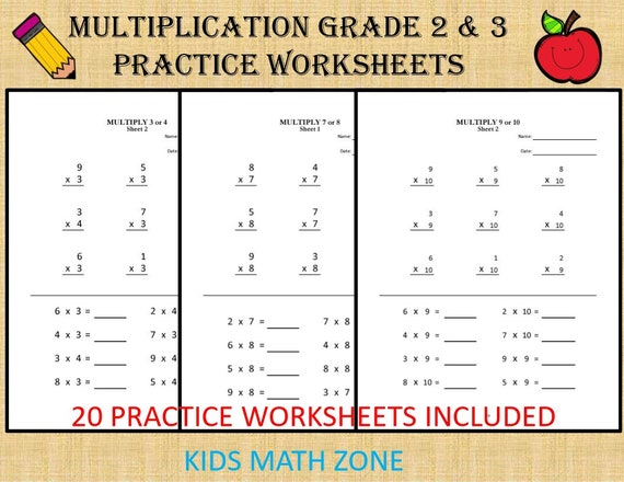 Multiplication worksheets for Grade 2 & 3 - 20 sheets/ pdf/ Year 2,3,4/  Grade 2,3,4/ Numeracy Games Kids/ Printable Multiplication
