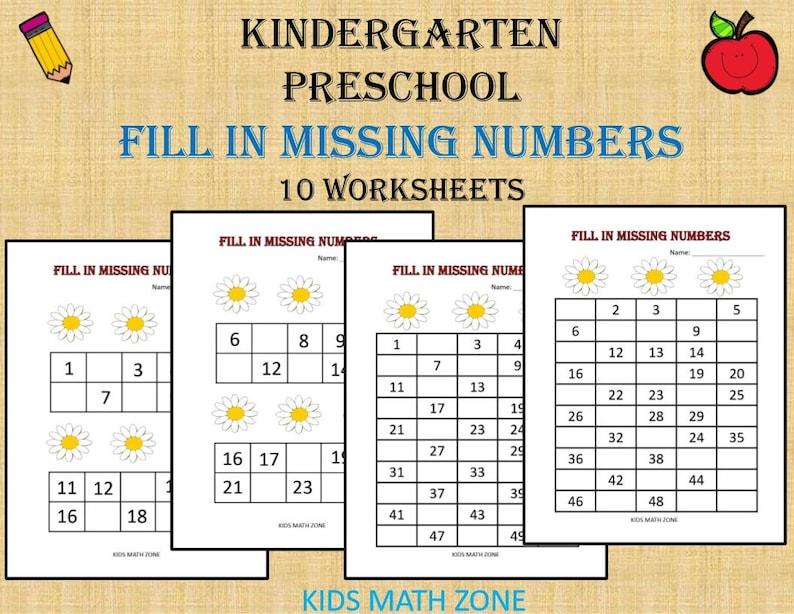Fill in Missing Numbers Printable Worksheets Preschool image 0