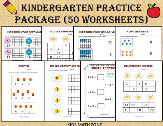 Kindergarten Practice Worksheets 50 Printable Worksheets Etsy