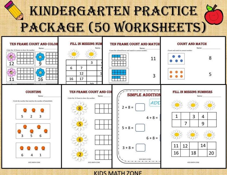 Kindergarten Practice Worksheets  50 Printable Worksheets image 0