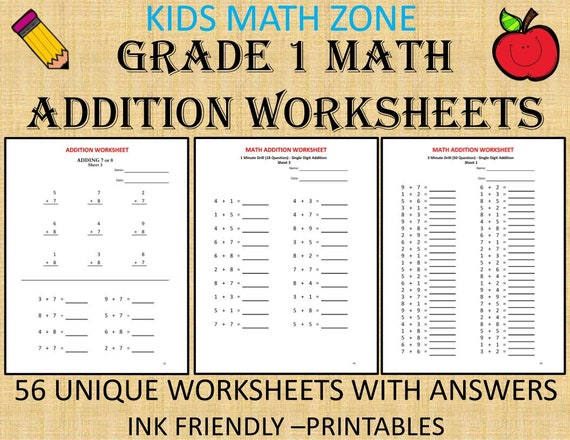 1st Grade Addition Worksheets 56 Worksheets With Answers Etsy