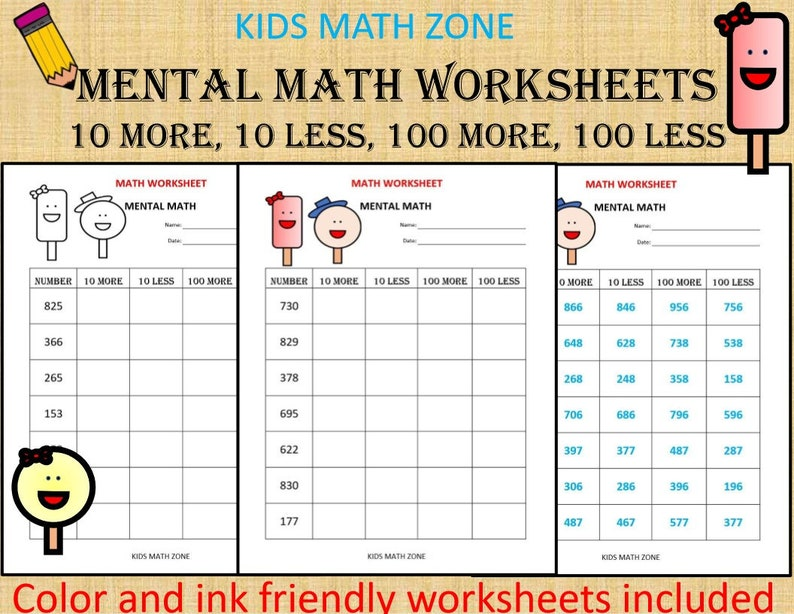 Mental Math (10 Math Worksheets) pdf/ Kindergarten Year 1, 2,/ Grade 1,2, /  Printable 10 more 10 less /Homeschool/ count numbers / Teacher