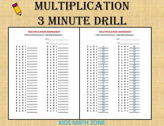 Multiplication 3 Minute Drill H With Answers 10 Sheets Pdf Year 2 3 4 Grade 2 3 4 Printable Worksheets Basic Multiplication