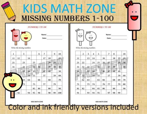 Missing Numbers 1 To 100 Printable Worksheets /pdf/ Preschool Etsy