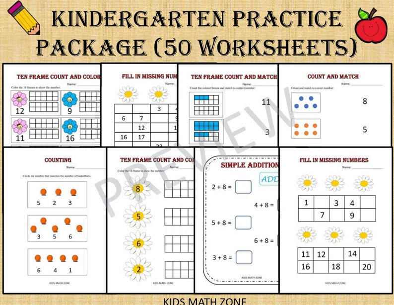 Kindergarten Practice Package  50 Math Worksheets for image 0