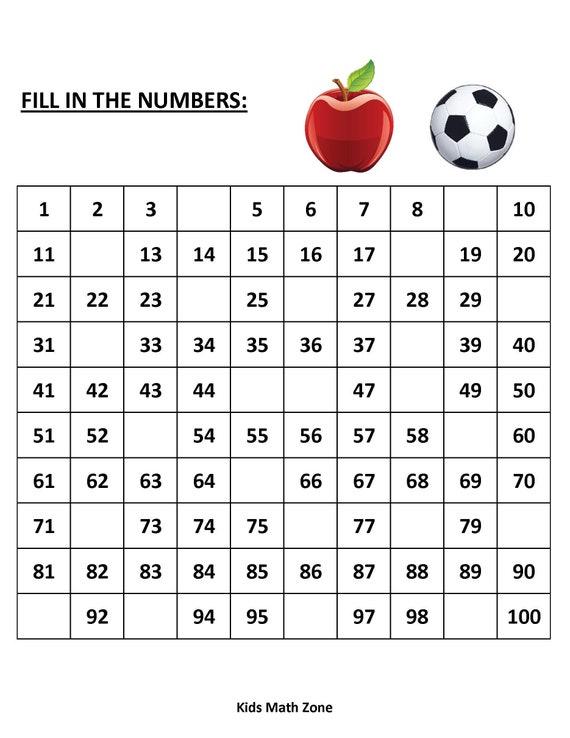 Missing Numbers (10 Printable Worksheets )/pdf/ Preschool activities/  Kindergarten/ Grade 1/ Year 1/ 1 to 100