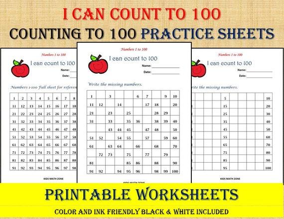 Missing Numbers 1 To 100 10 Printable Worksheets /pdf/ Etsy