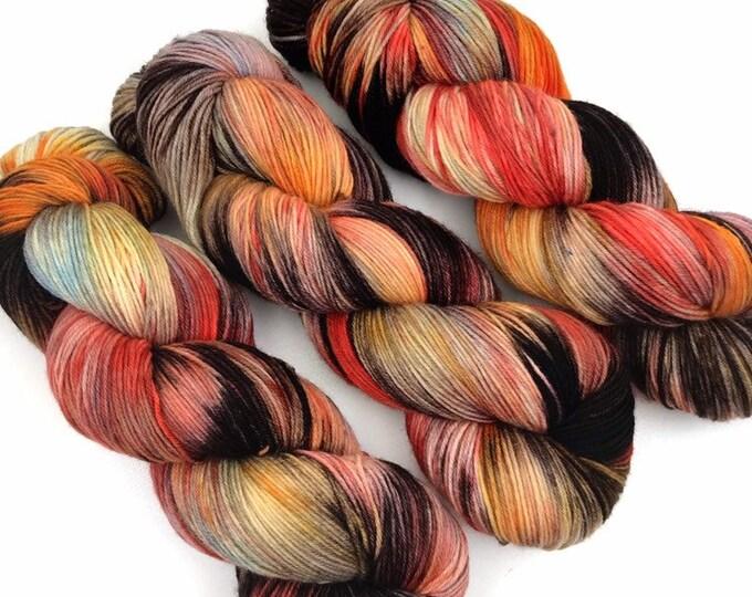 Floral Nights - Teagan Sock - Superwash Merino Nylon - Ready to Ship Hand Dyed Yarn